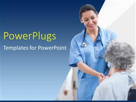PowerPlugs: PowerPoint template with nurse standing next to a patient while holding her hands in hospital ward