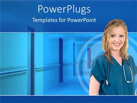 PowerPoint template displaying a nurse with a stethoscope and hospital in the background