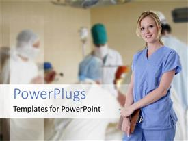PowerPlugs: PowerPoint template with a nurse with surgeons in the background