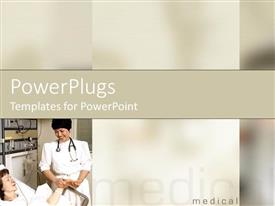 PowerPoint template displaying nurse wearing stethoscope checking up on patent on bed in white background