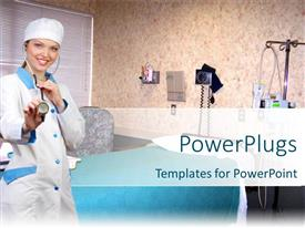 PowerPlugs: PowerPoint template with nurse wearing stethoscope in exam room