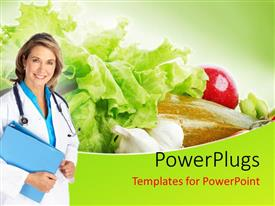 PowerPlugs: PowerPoint template with a nutritionist with salad in the background