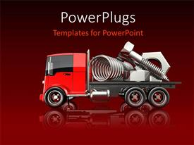 PowerPoint template displaying nuts bolts and springs sitting on a red flatbed truck with gradient