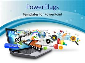PowerPlugs: PowerPoint template with objects like email, earth, film strip, bar graph, internet research projecting out of the laptop screen