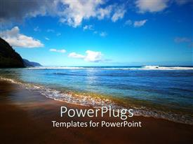 PowerPlugs: PowerPoint template with ocean with rays of sunset falling on it with blue sky and clouds