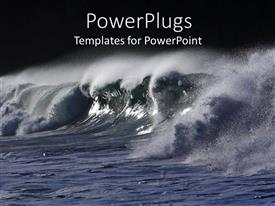 PowerPlugs: PowerPoint template with ocean water with big waves spreading water sprays with black background