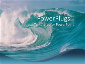 PowerPoint template displaying ocean waves crashing, beach, blue sky