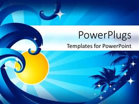 PowerPoint template displaying ocean waves, palm trees, sunshine, stars, blue background, summer, warm weather, vacation