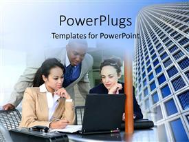 PowerPoint template displaying office buidings and business team with members from different races