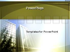 PowerPlugs: PowerPoint template with office building with sunshine in background, business, commercial real estate