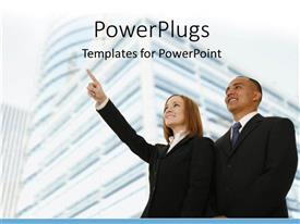 PowerPoint template displaying office buildings with business personnel's standing by