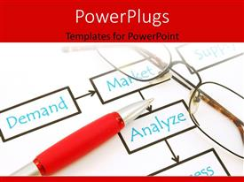 PowerPlugs: PowerPoint template with office desk with eye glasses over market analysis file