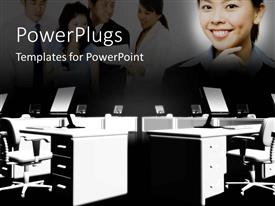 PowerPoint template displaying office desks and chairs with LCD screen keyboard and mouse