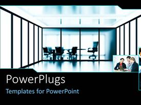 PowerPlugs: PowerPoint template with office scenery with office chair and round meeting table and three small depictions of business people
