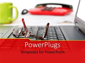 PowerPlugs: PowerPoint template with cup of coffee on work desk with eye glasses on laptop
