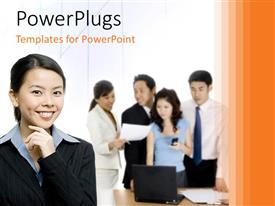 PowerPlugs: PowerPoint template with office workers discussing over table with beautiful Asian woman smiling