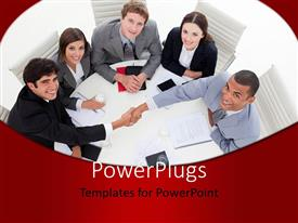 PowerPlugs: PowerPoint template with office workers sits in round table with handshake depicting agreement