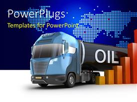 PowerPlugs: PowerPoint template with oil delivery truck with bar chart over world map in background