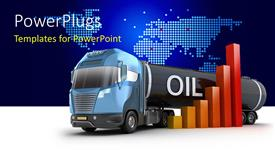 PowerPoint template displaying oil delivery truck with bar chart over world map in background