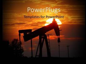 PowerPoint template displaying oil pump jack is silhouetted by setting sun and trees in background
