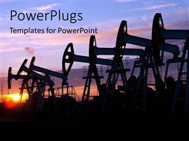 PowerPlugs: PowerPoint template with oil pumps on the sunset sky background