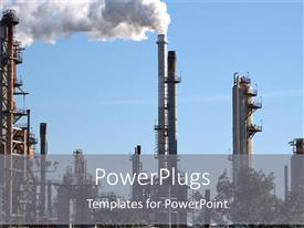 PowerPoint template displaying oil refinery plant with white smoke coming out of industrial factory on blue sky background