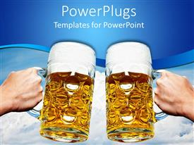 PowerPlugs: PowerPoint template with oktoberfest beer stein cups toasting on blue and white sky cloud background
