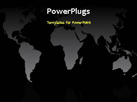 PowerPlugs: PowerPoint template with old-style desktop microphone moves in front of a world map. Black, sliver and gray, with video background.