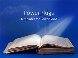 PowerPlugs: PowerPoint template with an old Bible and cross for religious studies on a blue background