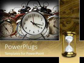 PowerPoint template displaying old clocks and hourglass symbolize time passing past future