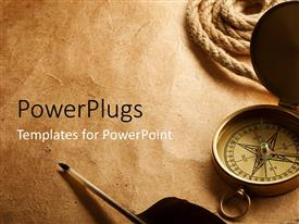 PowerPlugs: PowerPoint template with old compass on antique paper textured background