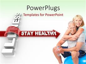 PowerPlugs: PowerPoint template with an old couple with an arrow in the background