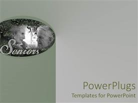 PowerPlugs: PowerPoint template with an old couple sitting together with grayish background