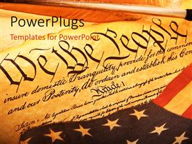 PowerPlugs: PowerPoint template with old scroll of American constitution with the American flag