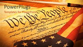 PowerPoint template displaying old scroll of American constitution with the American flag