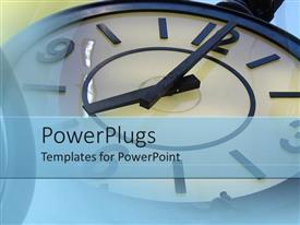 PowerPlugs: PowerPoint template with old fashioned clock telling time on a blue background