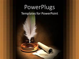 PowerPoint template displaying old fashioned gold quill and scroll for history time and past metaphors on brown background