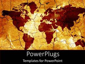 PowerPlugs: PowerPoint template with old fashioned gold world map and countries on tan background