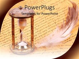 PowerPoint template displaying old fashioned hourglass and feather with scroll history