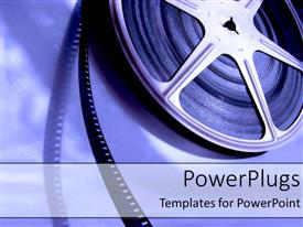 PowerPoint template displaying old fashioned movie film industry playing and unrolling on a blue background