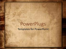 PowerPlugs: PowerPoint template with old fashioned paper or linen worn down on brown background