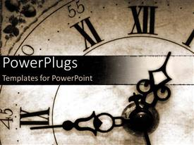 PowerPlugs: PowerPoint template with old fashioned roman letters clock in black and white