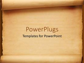 PowerPlugs: PowerPoint template with old fashioned worn down red scroll paper with lines to write as a metaphor on a orange background