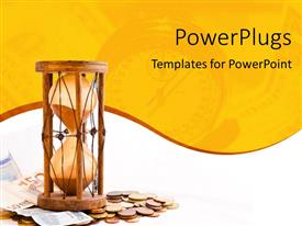 PowerPoint template displaying old hourglass with Euros and timepiece in background