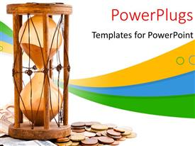 PowerPlugs: PowerPoint template with an hour glass with lots of currency coins and notes