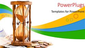 PowerPoint template displaying an hour glass with lots of currency coins and notes