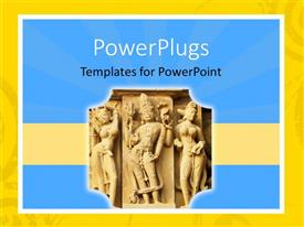 PowerPoint template displaying old Indian statue's carved into a wall with blue background