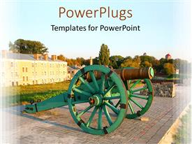 PowerPlugs: PowerPoint template with old mechanical gun on fortress wall with mansion in background