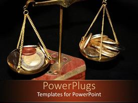 PowerPlugs: PowerPoint template with old metallic scale balance with coins on the plates