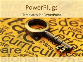 PowerPlugs: PowerPoint template with old skeleton key laying on yellowed paper covered with education related words